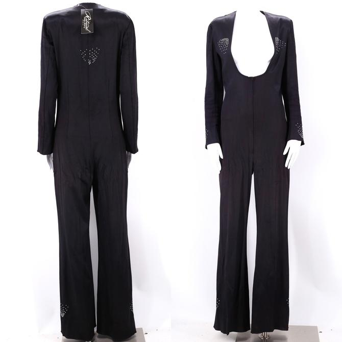 rare 70s UNISEX satin glam rock bell bottom jumpsuit size M / 1970s PJ BOUTIQUES nyc black rhinestone rock & roll one mens piece medium-L by ritualvintage