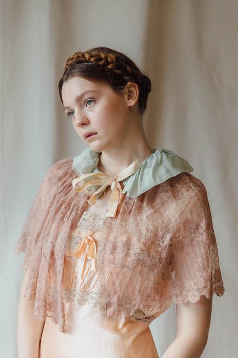 1940s pink lace and silk chiffon caplet OOAK art deco antique lingerie by DevoreVintage