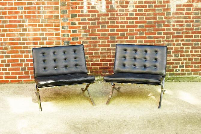 """Vintage Pair Of MCM Black Leather Barcelona Chairs, Chrome Frame & Legs W/ Load Bearing Straps, Removable Cushions, 30"""" W x 28"""" H x 22"""" D by shopGoodsVintage"""