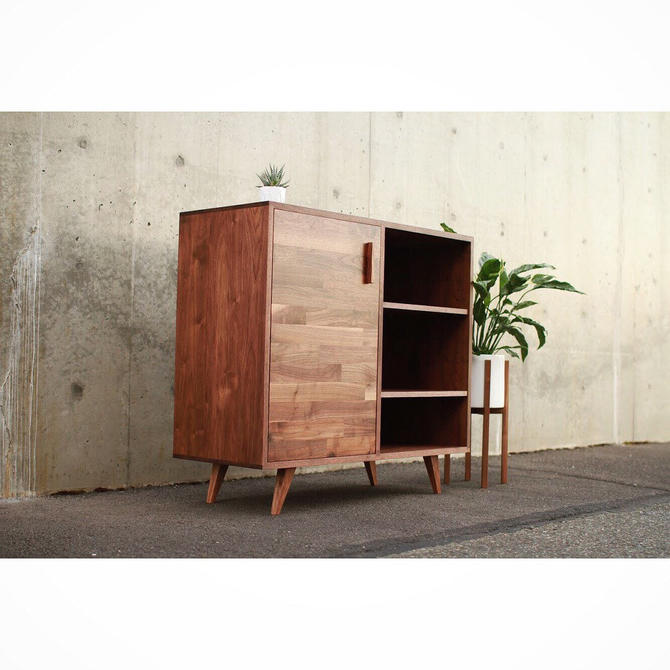 Medina Console, Mid-Century Modern, LP Storage, Credenza, Sideboard (shown in walnut) by TomfooleryWood