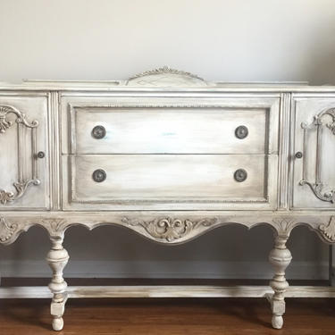 SOLD - Hand Painted Antique Jacobean Ornate Buffet Sideboard/ Weathered Gray by FrenchTwistAntiques