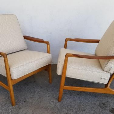 Danish Modern Teak & Oak Lounge Chairs by Tove and Edvard Kindt-Larsen by JanakosAndCompany