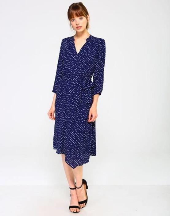 Blue/White Polka Dot Wrap Dress