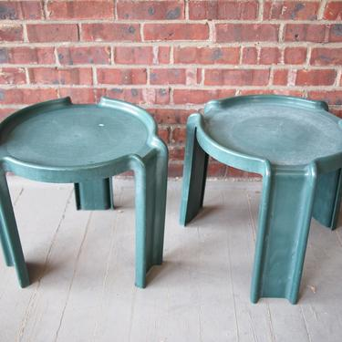 """Pair 2 Vintage SYROCO Stacking SIDE TABLE 18"""" Green Plastic Outdoor Mid-Century Modern Giotto Stoppino Kartell 1970s eames knoll era by refugegallery"""