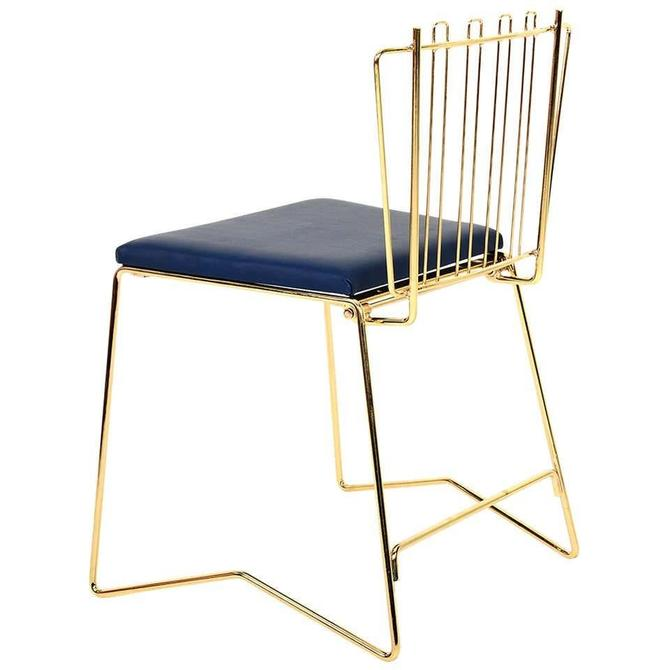 PR03 Stacking Fancy Folding Chair Brass Finish Faux Leather Blue by AMBIANIC