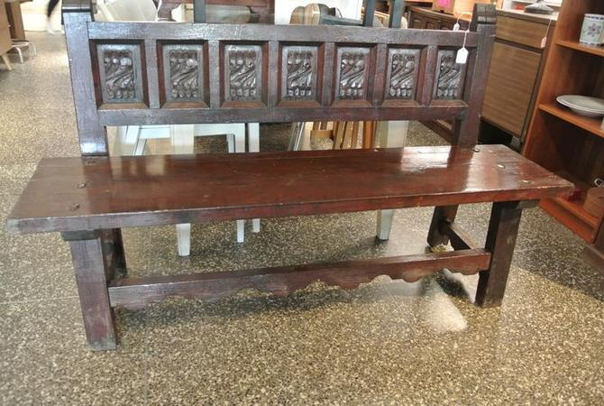 Carved wood bench. $225