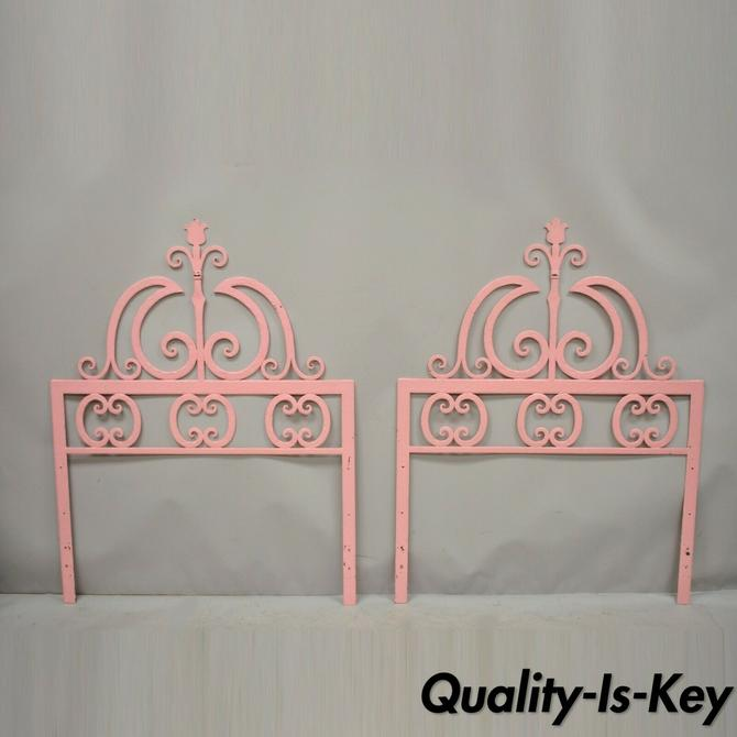 Pair Vintage Italian Gothic Iron Hollywood Regency Twin or King Sz Bed Headboard