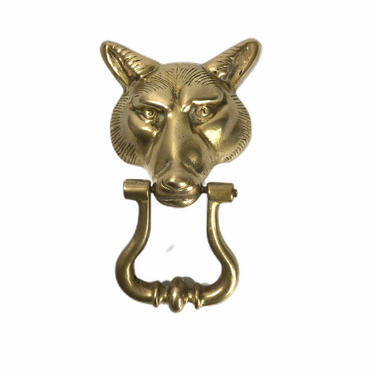 Vintage Solid Brass Wolf Door Knocker by Northforkvintageshop