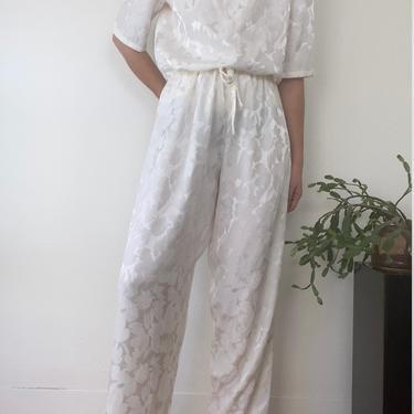 vintage white floral satin bespoke pant suit size l - xl by miragevintageseattle