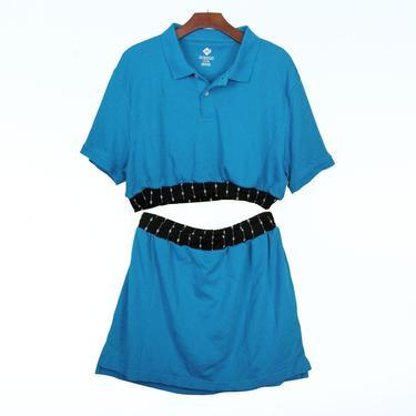 2pc Blue Knit polo dress set