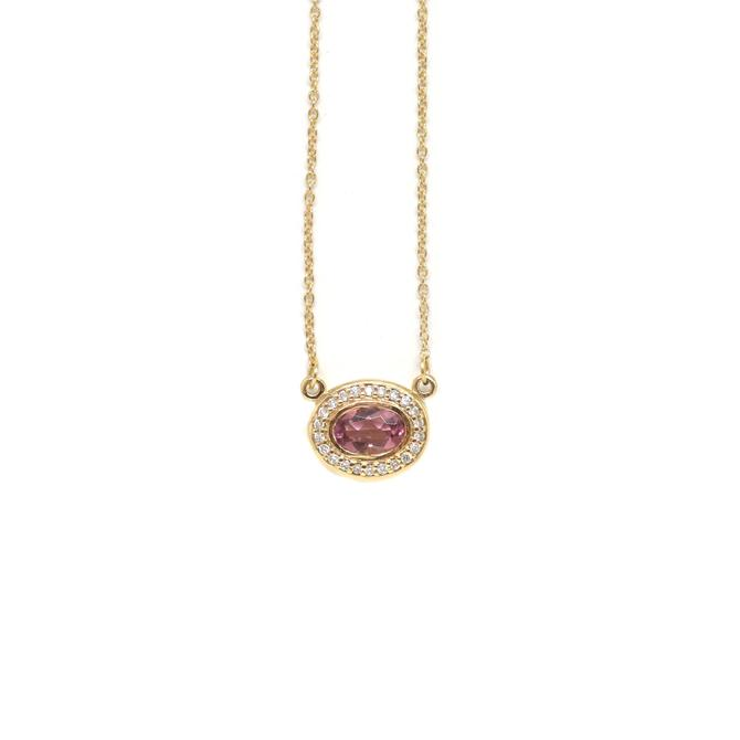 Pink Tourmaline Halo Necklace