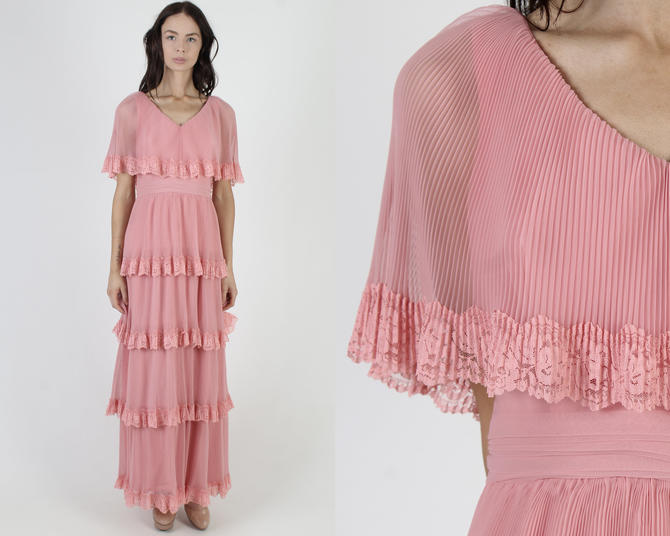 Mauve Neiman Marcus Dress / Tiered Layered Sheer Chiffon / Vintage 70s Ruffle Avant Garde / Unique Pink Layered Pleated Maxi Dress by americanarchive