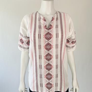 Ivory Guatemalan Embroidery Tunic Top