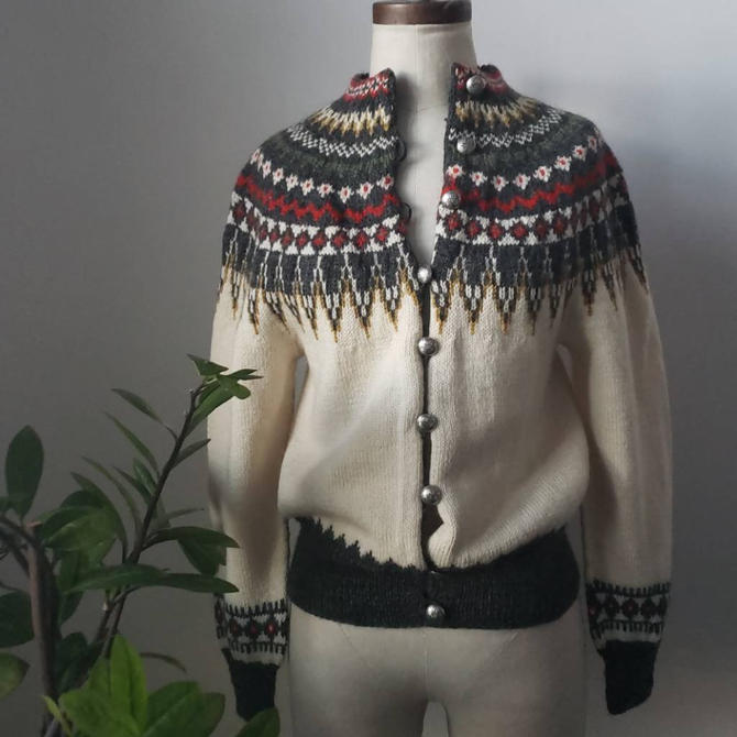 Vintage 1960s/1970s William Schmidt Co. OLSO Nordic Sweater| Intarsia Ski Cardigan by LoveOnceAgain