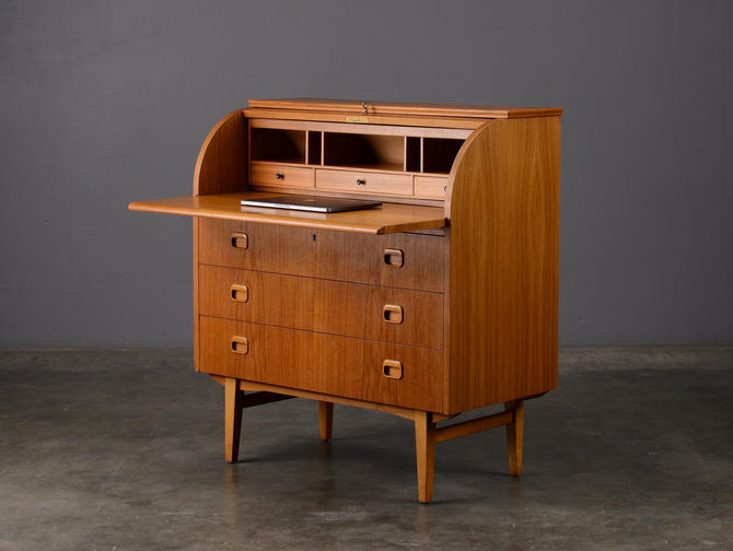 Mid-Century Secretary Desk Teak Danish Modern Roll-top Barrel by MadsenModern