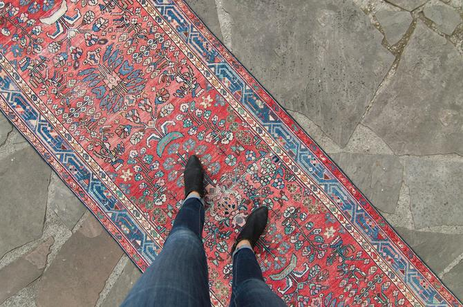 """Vintage 3'4"""" x 11'10"""" Runner Floral Design Bold Colors Red Blue Wool Pile Hand-Knotted Rug - FREE DOMESTIC SHIPPING by HouseofSeance"""
