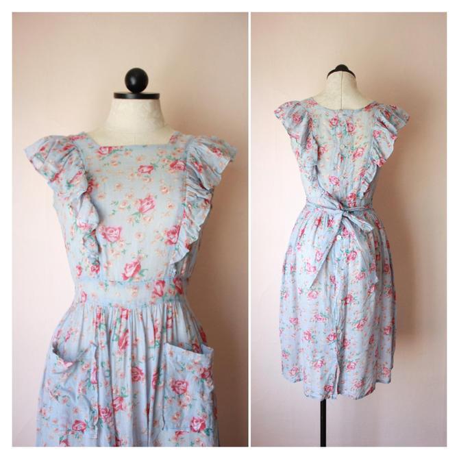 30s Cotton Voile Pinafore Dress Button Back Apron Dress Floral Size S by NoSurrenderVintage