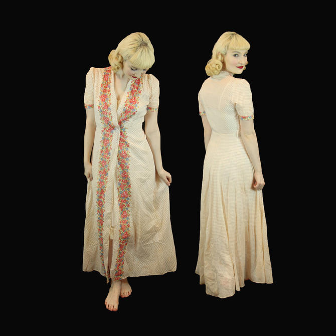 Vintage 1930s Long Maxi Printed Cotton House Dress Size S M Wearable Great Condition by WalkinVintage