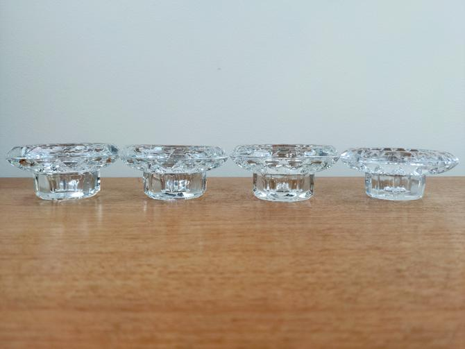 Vintage Crystal (4) Candle Holders | Faceted Design | France Bolsius by TheFeatheredCurator