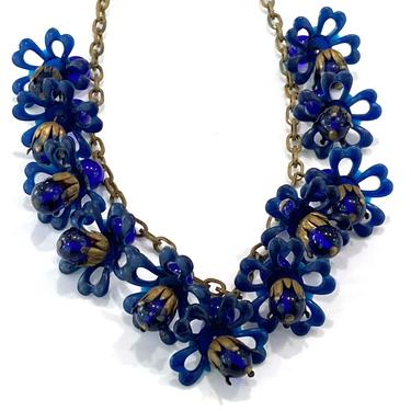 1930s Vintage Blue Flower Plastic Glass Bead and Brass Link Necklace or Choker by DressingVintage