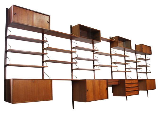 Mid Century Cado 7 Bay Mounted Wall Unit by Poul Cadovius by RetroPassion21