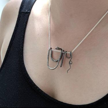 Evelyn's Revival Serpent No. 2 Pendant - Snake Necklace, Forged silver, ooak, natural, large necklace, Egyptian, Cleopatra, charmer by EmilyMarquisDesigns