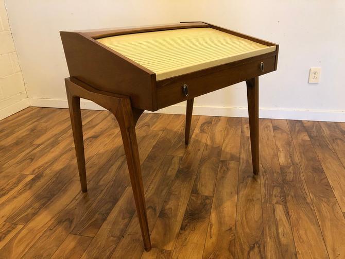 1955 Drexel Profile Walnut Roll Top Desk by John Van Koert by Vintagefurnitureetc
