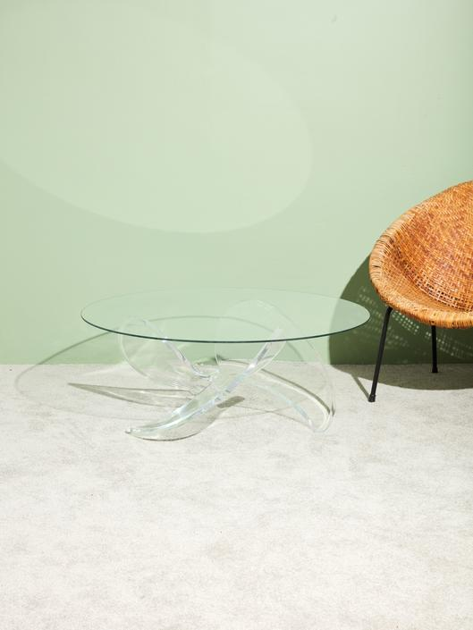 Lucite Propeller Coffee Table