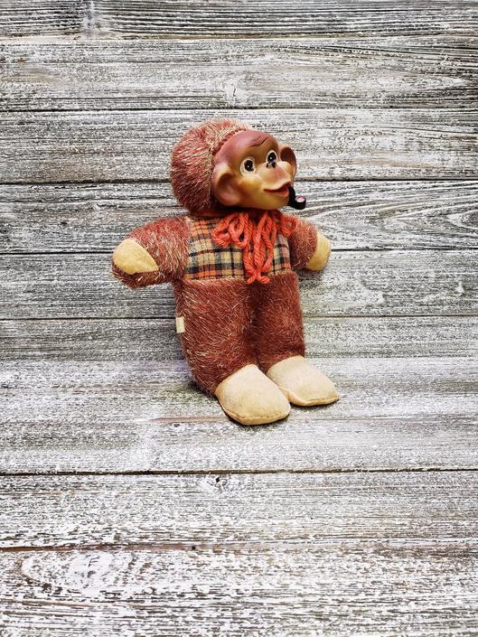 Vintage Smoking Monkey Plush, Pipe Smoking Ape, Antique Stuffed Animal Toy, Vintage Japan Monkey, Rubber Face Monkey, Vintage Toys by AGoGoVintage