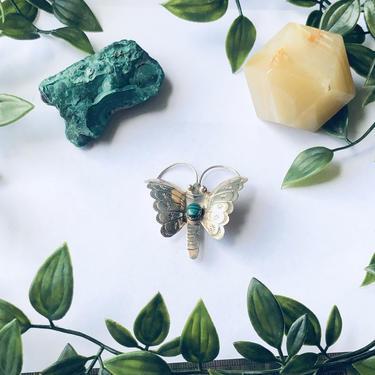 Vintage Silver Butterfly Brooch, Malachite Butterfly Pin, Green And Silver Butterfly, Insect Jewelry, Green Malachite, Bug Pin by shopGoodsVintage