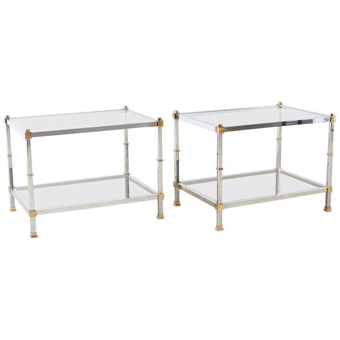 Pair of Maison Jansen Style Chrome and Brass Tables by ErinLaneEstate