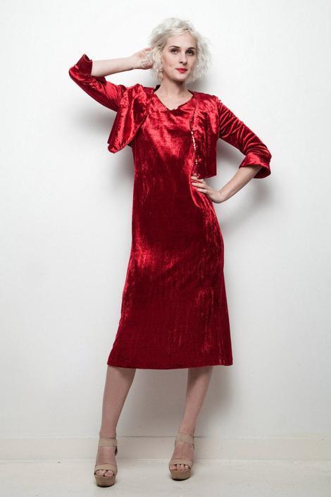 red velvet dress bolero jacket set vintage 2-piece sequin trim bell sleeves S SMALL by shoprabbithole