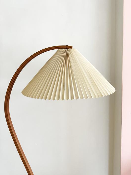 1970s Danish Bent Teak Mads Caprani Pleated Floor Lamp