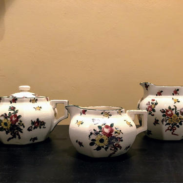Vintage Royal Doulton Old Leeds Spray Mini Creamer, Mini Pitcher, and Sugar Bowl by OverTheYearsFinds