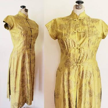 1950s Chartreuse Silk Cheongsam Dress Peggy Wood Honolulu / 50s Short Sleeved Brocade Chinese Style Hawii Dress Duster Jacket / L / Lena by RareJuleVintage