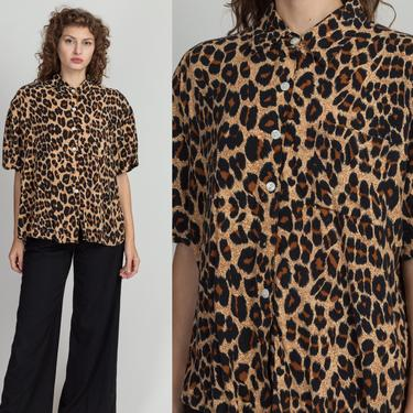 80s Oversize Leopard Print Shirt - Extra Large | Vintage Collared Short Sleeve Button Up Top by FlyingAppleVintage