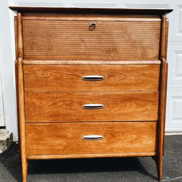 Drexel Projection Walnut Highboy Dresser, John van Koert, Midcentury Danish Modern Chest with Mirror by VintageandSwoon