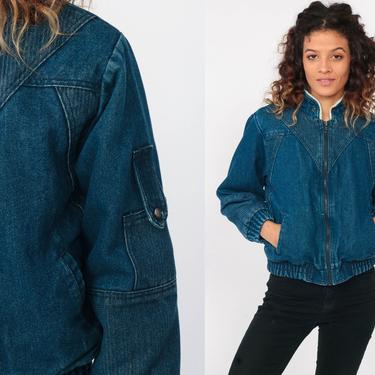 SHERPA Jean Jacket xxs Denim Shearling Jacket 80s Denim Jacket Bomber Jacket Trucker 1980s Winter Coat Blue Vintage Extra Small xs by ShopExile