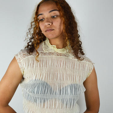 Vintage 50s Does Victorian White Sheer Blouse Lace Nylon Tricot Sleeves Top Small Medium 1950's by ErraticStaticVintage