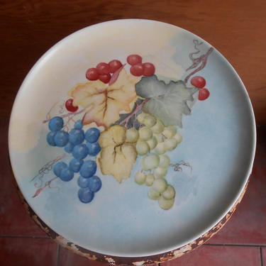 Vintage Signed by Artist Hand Painted Plate Fruit Grapes Still Life Artwork Decorative Cabinet Plate by kissmyattvintage