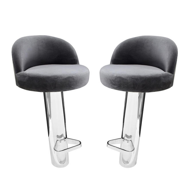 Karl Springer Pair of Cantilevered Stainless Steel Bar Stools 1980s