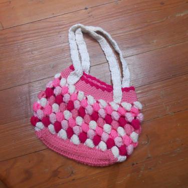 Vintage Handmade Hand Knitted Crocheted Purse Pom Pom Knit Neon Pink White Handbag Young Girl Childs Tween Teen Boho Yarn Top Handle Bag by kissmyattvintage