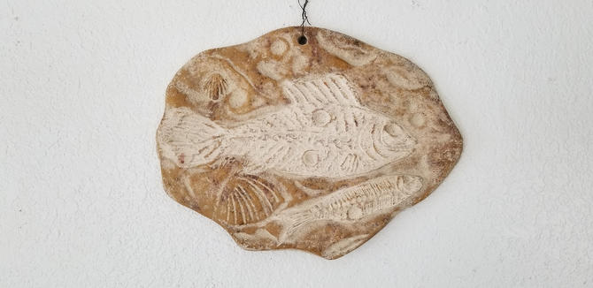 Vintage Hand Sculpted Fish Pattern Pottery Wall Art Plaque by MIAMIVINTAGEDECOR