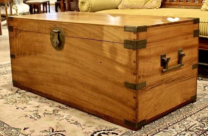 Large Camphorwood Chest with Brass Fittings, 19th C