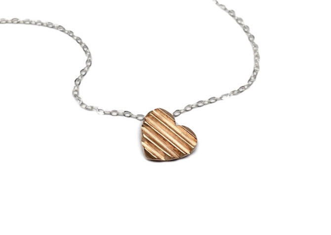 Bronze heart Necklace Bronze geometric heart necklace Silver and bronze necklace by Sarah Cecelia by SarahCecelia