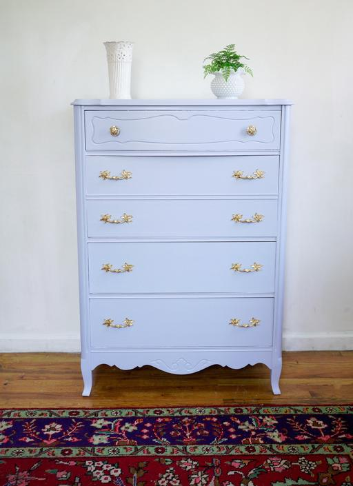 Light Blue French Provincial Dresser / Chest of Drawers, Powder Blue Dresser, Baby Blue highboy dresser, vintage dresser, nyc delivery by AntiqueBoutiqueNYC
