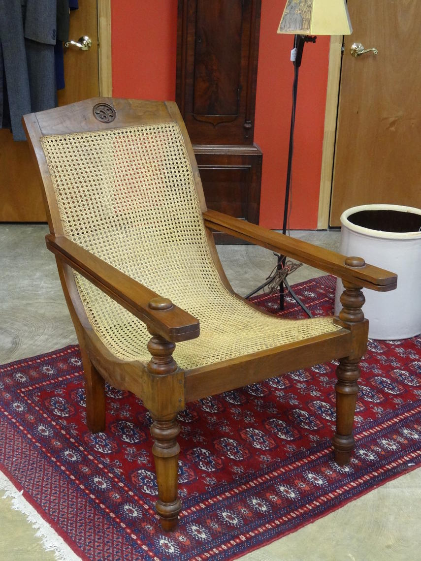 Anglo-Indian Teak Plantation Chair with Folding Arms - Ginger HIll Antiques ATTIC