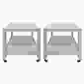 Karl Springer Pair of End Tables in Lacquered Linen ca 2000 (Signed) - ON HOLD