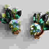 Green Aurora Borealis Rhinestone Earrings by LegendaryBeast