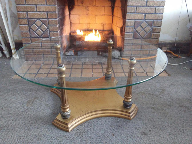 Mid Century Modern Glass and Gilt Wood Coffee Table Hollywood Regency Style by 3GirlsAntiques